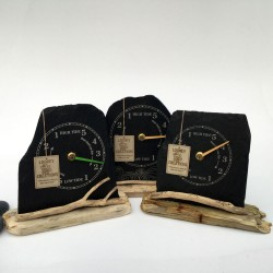 Slate and driftwood tide clocks